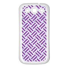 Woven2 White Marble & Purple Denim (r) Samsung Galaxy S3 Back Case (white)