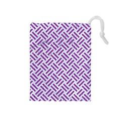 Woven2 White Marble & Purple Denim (r) Drawstring Pouches (medium)