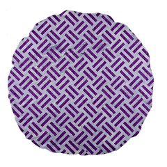 Woven2 White Marble & Purple Denim (r) Large 18  Premium Flano Round Cushions by trendistuff