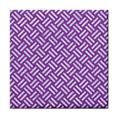 Woven2 White Marble & Purple Denim Tile Coasters