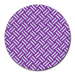 Woven2 White Marble & Purple Denim Round Mousepads