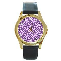 Woven2 White Marble & Purple Denim Round Gold Metal Watch