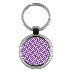 Woven2 White Marble & Purple Denim Key Chains (round)