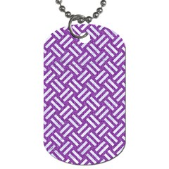 Woven2 White Marble & Purple Denim Dog Tag (one Side)