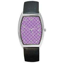Woven2 White Marble & Purple Denim Barrel Style Metal Watch