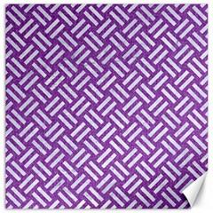 Woven2 White Marble & Purple Denim Canvas 12  X 12