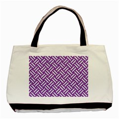 Woven2 White Marble & Purple Denim Basic Tote Bag (two Sides)