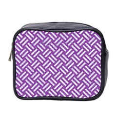 Woven2 White Marble & Purple Denim Mini Toiletries Bag 2 Side
