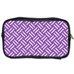 Woven2 White Marble & Purple Denim Toiletries Bags