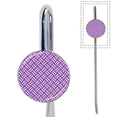 Woven2 White Marble & Purple Denim Book Mark