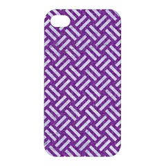 Woven2 White Marble & Purple Denim Apple Iphone 4/4s Hardshell Case