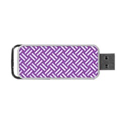 Woven2 White Marble & Purple Denim Portable Usb Flash (two Sides) by trendistuff