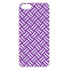 Woven2 White Marble & Purple Denim Apple Iphone 5 Seamless Case (white)