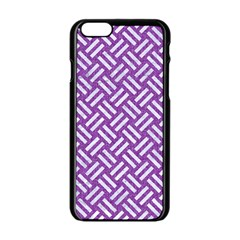 Woven2 White Marble & Purple Denim Apple Iphone 6/6s Black Enamel Case