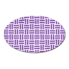 Woven1 White Marble & Purple Denim (r) Oval Magnet