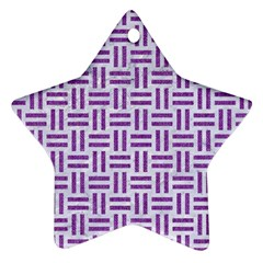 Woven1 White Marble & Purple Denim (r) Star Ornament (two Sides)