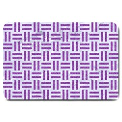 Woven1 White Marble & Purple Denim (r) Large Doormat  by trendistuff