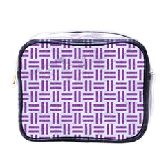 Woven1 White Marble & Purple Denim (r) Mini Toiletries Bags