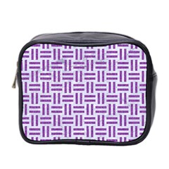 Woven1 White Marble & Purple Denim (r) Mini Toiletries Bag 2 Side