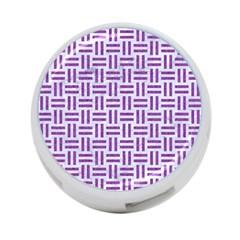 Woven1 White Marble & Purple Denim (r) 4 Port Usb Hub (one Side)