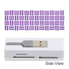 Woven1 White Marble & Purple Denim (r) Memory Card Reader (stick)
