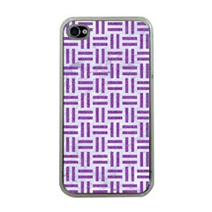 Woven1 White Marble & Purple Denim (r) Apple Iphone 4 Case (clear)