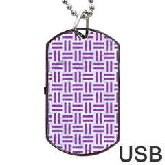 Woven1 White Marble & Purple Denim (r) Dog Tag Usb Flash (two Sides)