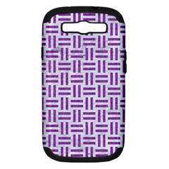 Woven1 White Marble & Purple Denim (r) Samsung Galaxy S Iii Hardshell Case (pc+silicone)