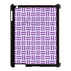 Woven1 White Marble & Purple Denim (r) Apple Ipad 3/4 Case (black)