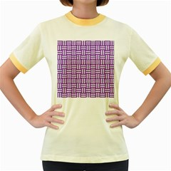 Woven1 White Marble & Purple Denim Women s Fitted Ringer T Shirts