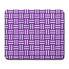 Woven1 White Marble & Purple Denim Large Mousepads