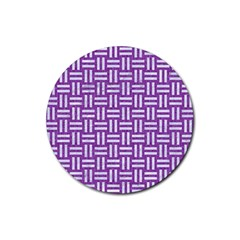 Woven1 White Marble & Purple Denim Rubber Coaster (round)