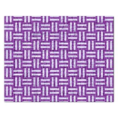 Woven1 White Marble & Purple Denim Rectangular Jigsaw Puzzl