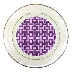 Woven1 White Marble & Purple Denim Porcelain Plates
