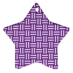 Woven1 White Marble & Purple Denim Star Ornament (two Sides)