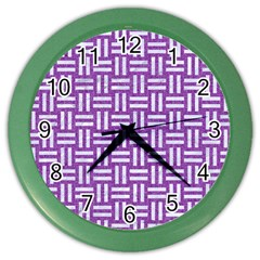 Woven1 White Marble & Purple Denim Color Wall Clocks by trendistuff