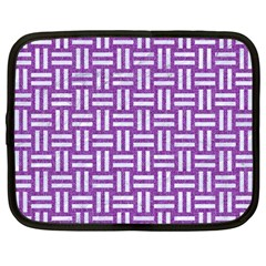 Woven1 White Marble & Purple Denim Netbook Case (large)
