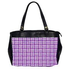 Woven1 White Marble & Purple Denim Office Handbags (2 Sides)
