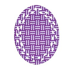 Woven1 White Marble & Purple Denim Oval Filigree Ornament (two Sides)