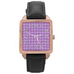 Woven1 White Marble & Purple Denim Rose Gold Leather Watch