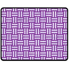 Woven1 White Marble & Purple Denim Double Sided Fleece Blanket (medium)  by trendistuff