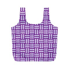 Woven1 White Marble & Purple Denim Full Print Recycle Bags (m)