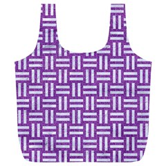 Woven1 White Marble & Purple Denim Full Print Recycle Bags (l)