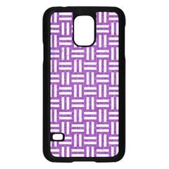 Woven1 White Marble & Purple Denim Samsung Galaxy S5 Case (black)