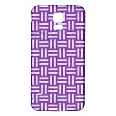 Woven1 White Marble & Purple Denim Samsung Galaxy S5 Back Case (white)