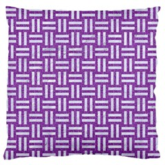 Woven1 White Marble & Purple Denim Large Flano Cushion Case (two Sides)