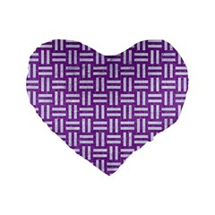 Woven1 White Marble & Purple Denim Standard 16  Premium Flano Heart Shape Cushions