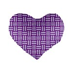 WOVEN1 WHITE MARBLE & PURPLE DENIM Standard 16  Premium Flano Heart Shape Cushions Front