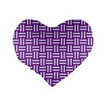 WOVEN1 WHITE MARBLE & PURPLE DENIM Standard 16  Premium Flano Heart Shape Cushions Back