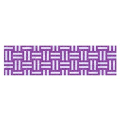 Woven1 White Marble & Purple Denim Satin Scarf (oblong) by trendistuff